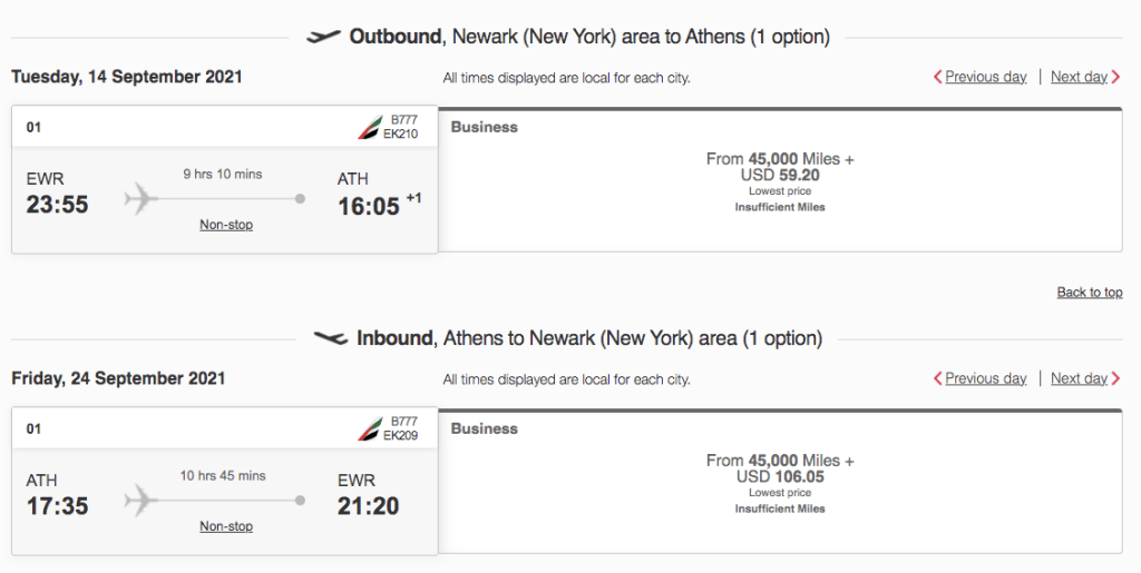 how to book emirates award tickets in business class