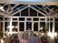 PVCu conservatory interior by night