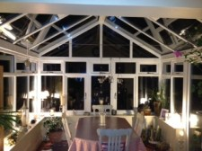 PVCu conservatory interior by night