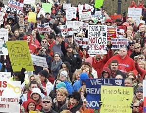Teachers protest government attacks March 12 at state Capitol in Frankfort, Kentucky.