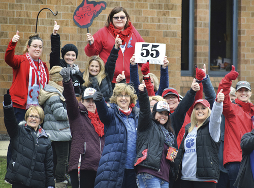 Woodsdale Elementary teachers, Wheeling, West Virginia, celebrate strike victory March 6.
