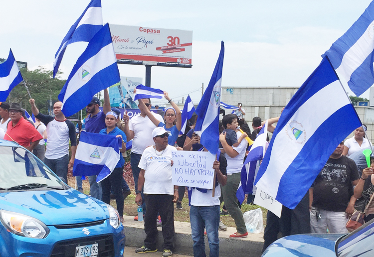 Rally at Rotonda Metrocenter in Managua, Nicaragua, May 20, against attacks on pensioners, students and others by government of President Daniel Ortega that have left dozens dead.