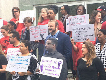 Teachers at April 26 news conference in Greensboro, North Carolina, announcing May 16 march and rally in Raleigh to demand better wages, work conditions and funds for schools.