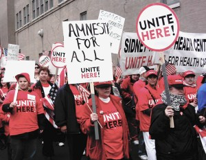 Demonstrators in Chicago, May 1, 2006, march demanding amnesty for all undocumented workers in the U.S.