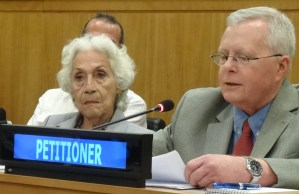Right, John Studer, Socialist Workers Party, addresses U.N. decolonization committee June 18 in support of fight to end U.S. colonial rule. Left, Myrna Pagán from Vieques Lives Matter.