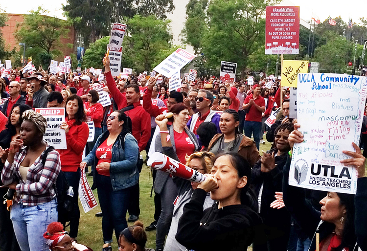 Thousands of teachers and their supporters rallied in Los Angeles May 24. Members of United Teachers Los Angeles have worked without a contract for a year. Their demand for increased funding mirrors that of other school workers' actions around the country.