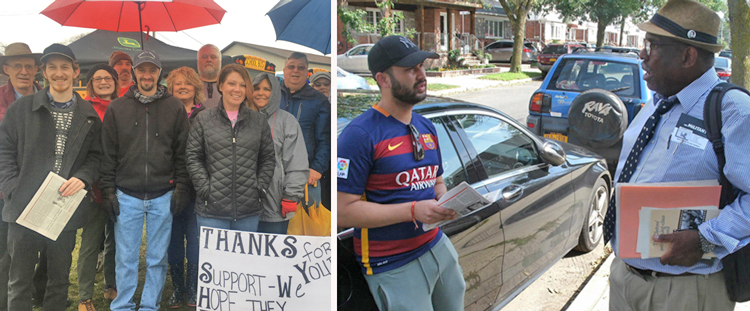Clockwise from top left, Harry D'Agostino (holding paper), SWP candidate for N.Y. lieutenant governor, with West Virginia teachers celebrating strike victory March 6; SWP U.S. Senate candidate in Pennsylvania Osborne Hart, right, talking with worker in Queens, New York, last year; Alyson Kennedy, candidate for U.S. Senate in Texas, campaigns door to door in Brooklyn, New York, during 2016 presidential contest.