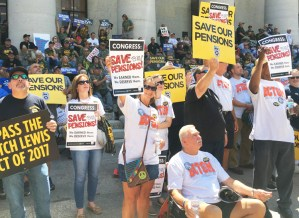 Miners, Teamsters, bakery workers, others protest pension cuts July 12 at Ohio Statehouse.
