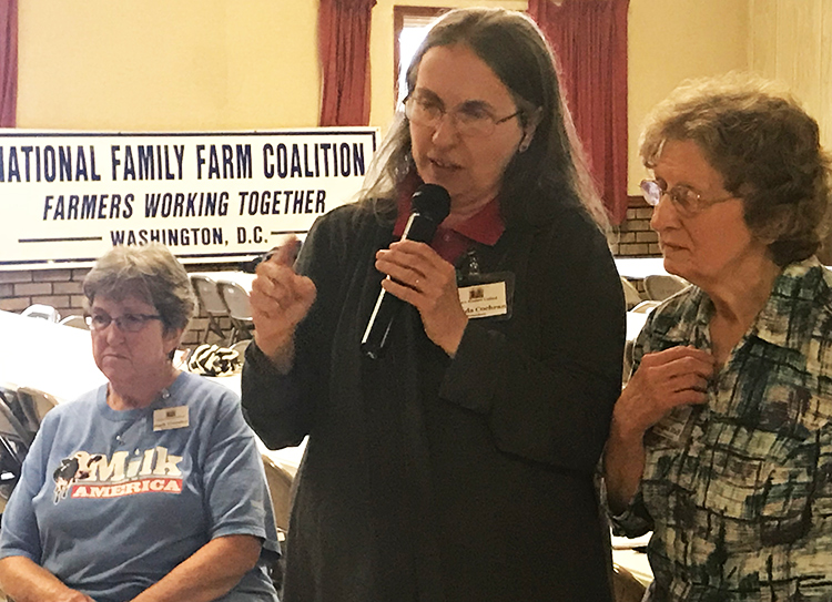 From left, Barb Troester, Brenda Cochran and Donna Hall from Farm Women United, which sponsored hearing in Lairdsville, Pennsylvania, July 24 to discuss crisis facing dairy farmers.