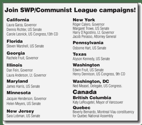 Join SWP/Communist League campaigns