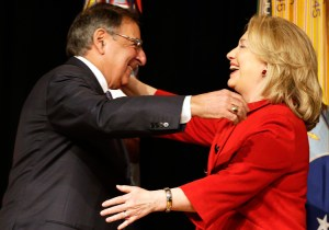 """Ex-CIA head Leon Panetta greets Hillary Clinton, 2013. Panetta and group of ex-spy chiefs defend ex-CIA head John Brennan, who lost his security clearance after calling President Donald Trump """"treasonous."""" In drive to bring down Trump, liberals build up the rulers' spy agencies."""