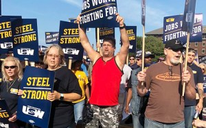 United Steelworkers members rally in front of U.S. Steel's Gary Works in Indiana, Aug. 30.
