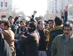 Protest in Mashhad, Iran, last December against living conditions and mounting deaths from Tehran's military intervention in Syria and Iraq. Protests spread to 90 other cities and towns.