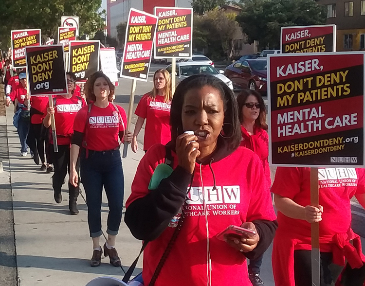National Union of Healthcare Workers members picket Kaiser's Los Angeles Medical Center Dec. 12 during 5-day statewide strike at 33 hospitals for increased hiring, better patient care.