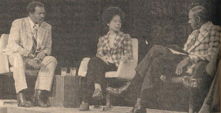 Top, Nan Bailey, SWP's 1974 candidate for Washington, D.C., mayor, debates Marion Barry, left, who later became city's first Black mayor. Left, September 1988 rally to drop frame-up rape charges against Mark Curtis, seated at left. Jack Barnes at podium. Bailey, second from right, joined defense of Curtis that won worldwide support.