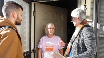 """""""What can I do to help the campaign?"""" Lydia Hall asked Amy Husk and Samir Hazboun."""