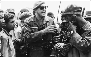 "José Ramón Fernández, center, during April 1961 battles at Bay of Pigs where he was field commander of main column of revolutionary forces that defeated U.S.-organized invasion. Discipline of revolutionary army ""must be very just, very humane, with highest moral standards,"" Fernández said."
