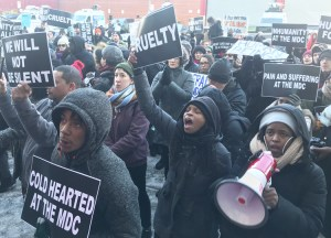 Family members of prisoners and supporters protest outside U.S. prison in Brooklyn Feb. 2.
