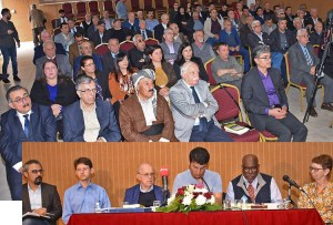 Below, panel at meeting in Ainkawa, Kurdistan Region of Iraq, sponsored by Kurdistan Communist Party. From left, chair Hiwa Omar, Kurdistan Communist Party Political Bureau; Ögmundur Jónsson, Communist League in the United Kingdom; Steve Clark, Socialist Workers Party in the United States; translator Jihad Kamal (Rosty); Osborne Hart and Alyson Kennedy, 2016 Socialist Workers Party candidates for vice president and president of U.S. Abpve, some of the more than 100 participants.