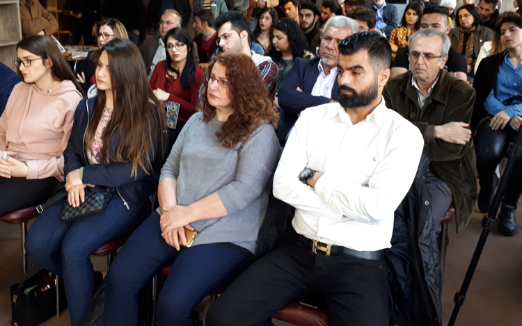 """March 30 meeting in Sulaymaniyah in Kurdistan Region of Iraq. Purpose of meeting was to be a platform for discussion on women's emancipation """"in the hope of making radical changes and seeing men and women hand in hand, shoulder to shoulder,"""" chairwoman Savan Ako said to welcome participants."""