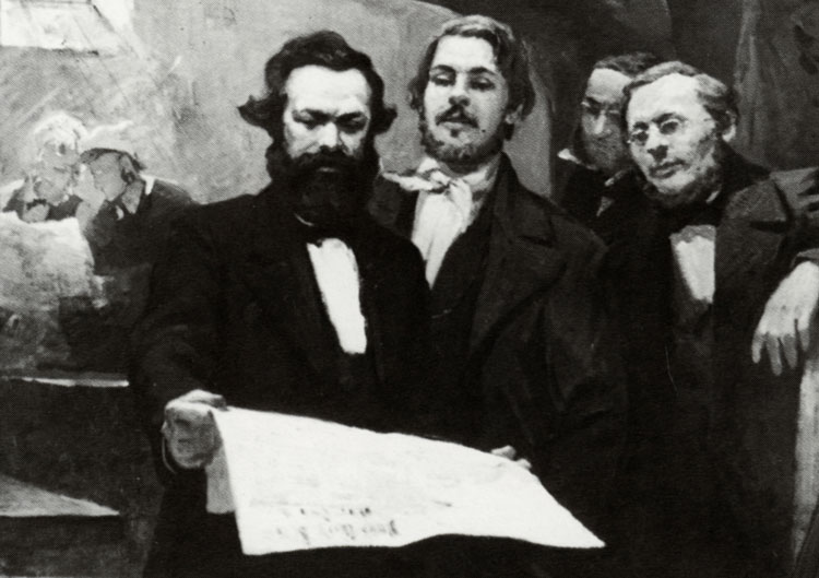 Painting shows Karl Marx, left, and Frederick Engels, center, reviewing Neue Rheinische Zeitung, the newspaper they edited during 1848 revolution in Germany, after it was printed.