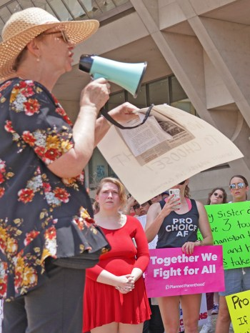 """We must not depend on Democrats or Republicans to defend abortion rights,"" Alyson Kennedy, SWP candidate for Dallas mayor told 100 people at May 25 abortion rights protest."
