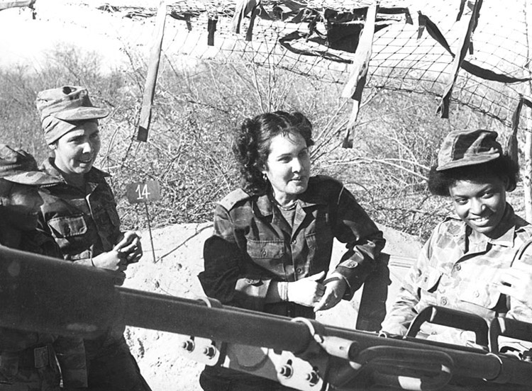 In 1988 revolutionary Cuba sent tens of thousands of volunteer combatants and its best military equipment to help seal the defeat of the long-standing South African apartheid invasion of Angola. Above, all-women antiaircaft gun units that helped beat back South African air force.