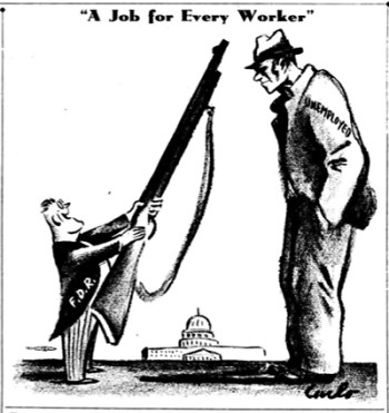 Cartoon in Socialist Appeal, precursor of Militant, graphically shows how Franklin D. Roosevelt's New Deal developed into the war deal as U.S. rulers headed into second imperialist world war, fought for imperialist dominance.