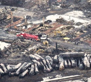 Runaway oil tanker train derailment in Lac-Megantic, Quebec, July 6, 2013, killed 47 people. Rail bosses' push for more profits through long and fatiguing shift patterns, one-person crews, longer trains, and running dangerous freight through cities and towns threatens more disasters.