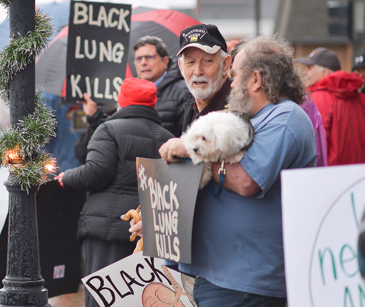Former coal miners with black lung demonstrate in Abingdon, Virginia, December 2018. Longer hours, drop in unionized mines is fueling big increase in miners with the disease.