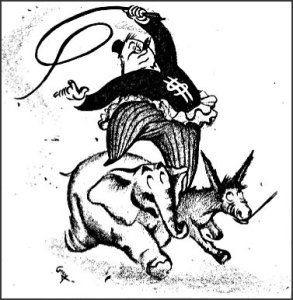 Cartoon from July 29, 1944, Militant depicts big capital cracking whip astride an elephant and donkey, symbols of Republicans and Democrats.