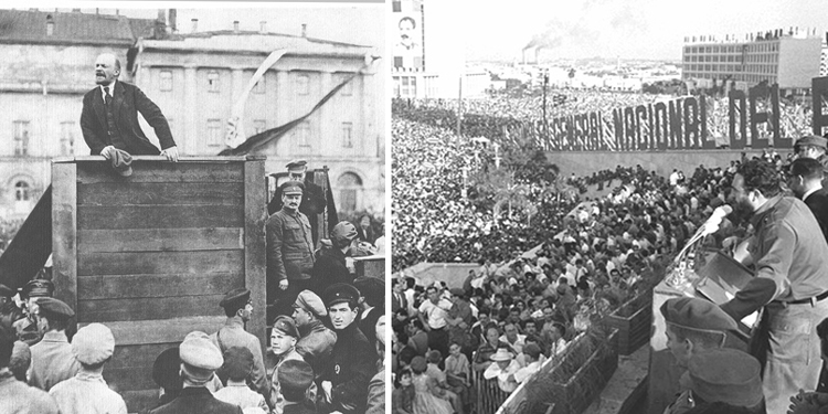 Bolshevik leader V.I. Lenin, left, speaking in Moscow in 1920 and Fidel Castro, right, addressing mass rally in Havana in 1962. Russian and Cuban Revolutions, two great proletarian revolutions of the 20th century, made key contributions to the development of internationalist working-class program and strategy.
