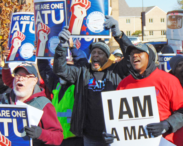 Members of Amalgamated Transit Union on strike against Metro contractor Transdev rally in Fairfax, Virginia, Nov. 16 demanding 'equal pay for equal work' and better health care.