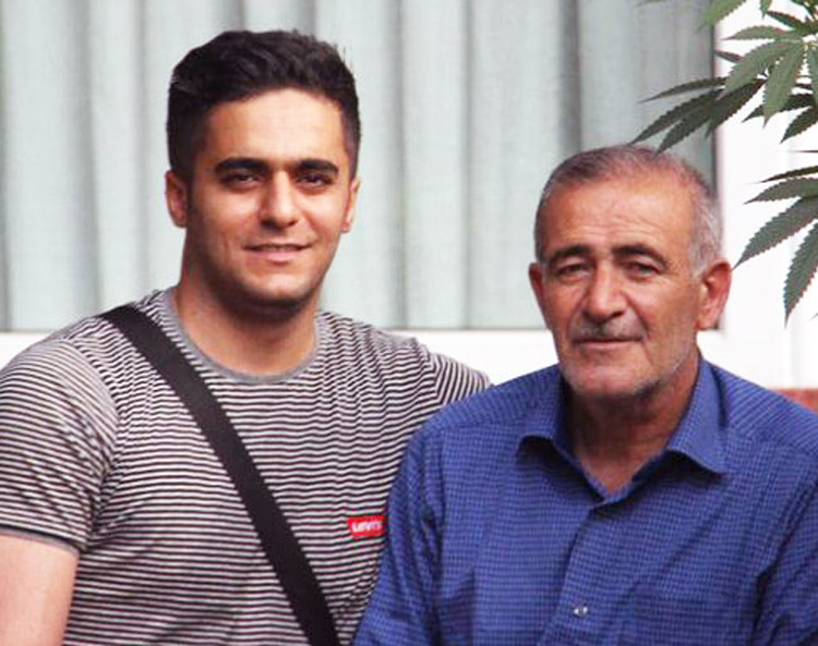 Borhan Mansournia, left, an Iranian Kurd, was killed by gov't security forces when he joined protests in November. Relatives are speaking out about killing in face of capitalist rulers' efforts to bribe them into lying and blaming his killing on fellow protesters. At right is his father.