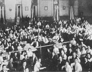 """Above, delegates at 1919 founding convention of U.S. Communist Party. Degeneration of the party began after early years, Cannon said, """"when it abandoned perspective of revolution in this country"""" and became """"a cheering squad for the Stalinist bureaucracy in Russia."""""""
