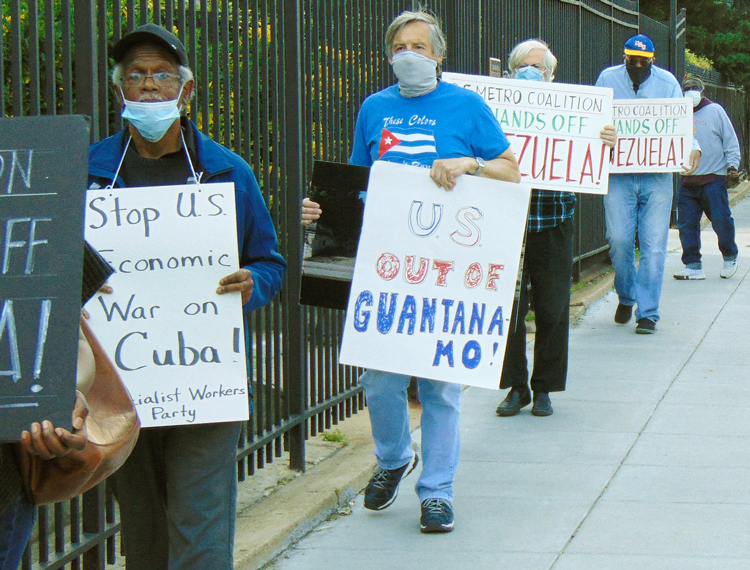 DC picket protests US rulers' attacks against Cuba