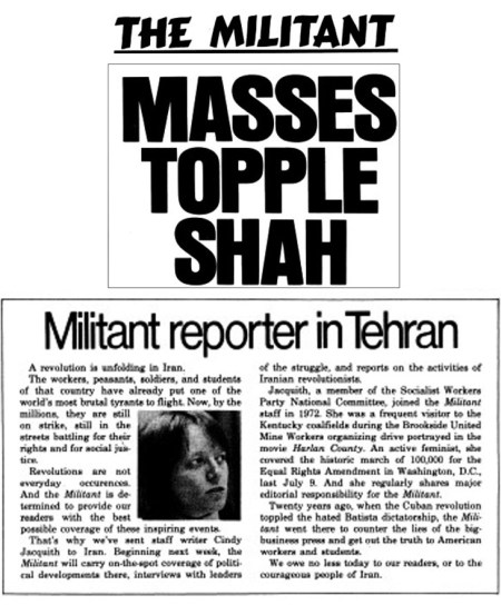 Jan. 26, 1979, <i>Militant</i> headline describes mass mobilizations by working people in Iran that brought down hated regime of the shah. The next week Cindy Jaquith is in Iran to cover unfolding revolution.