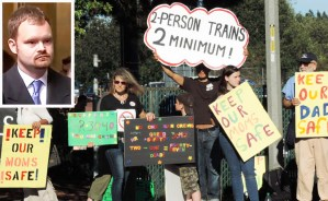 July 2014 Seattle protest against rail bosses' plans to impose one-man crews. Inset, Brandon Bostian, Amtrak engineer. Government is trying a third time to scapegoat Bostian for 2015 Philadelphia train crash, to take eyes off real source of problem — rail bosses' drive for profits.