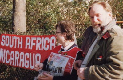 Toni and Frank Gorton at mid-1980 action in solidarity with Nicaraguan Revolution and growing fight against apartheid in South Africa.