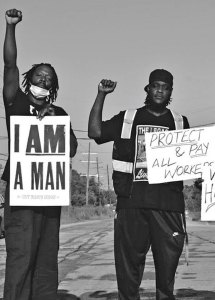 """Darnell Harris, right, and Rahman Brooks, in ongoing walkout by """"hoppers"""" at contractor for New Orleans sanitation system."""