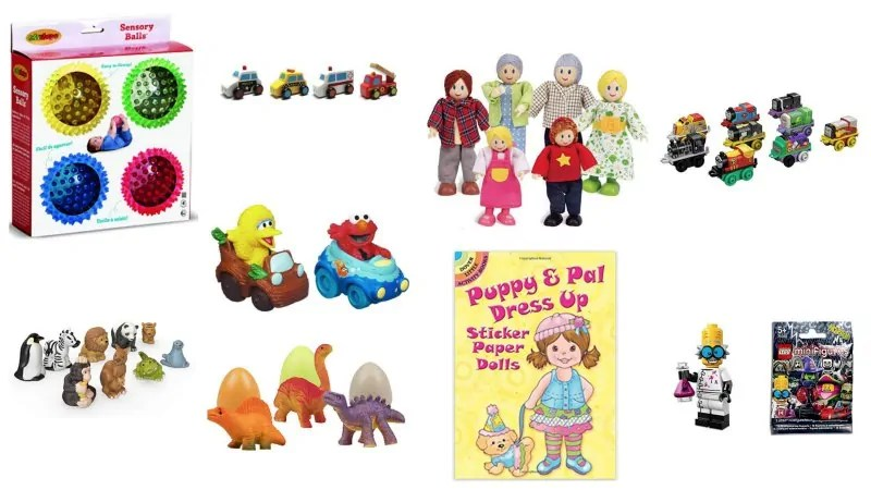 Collage of stocking stuffers like small dolls, construction toys, sesame street toys, dinosaurs, paper doll book