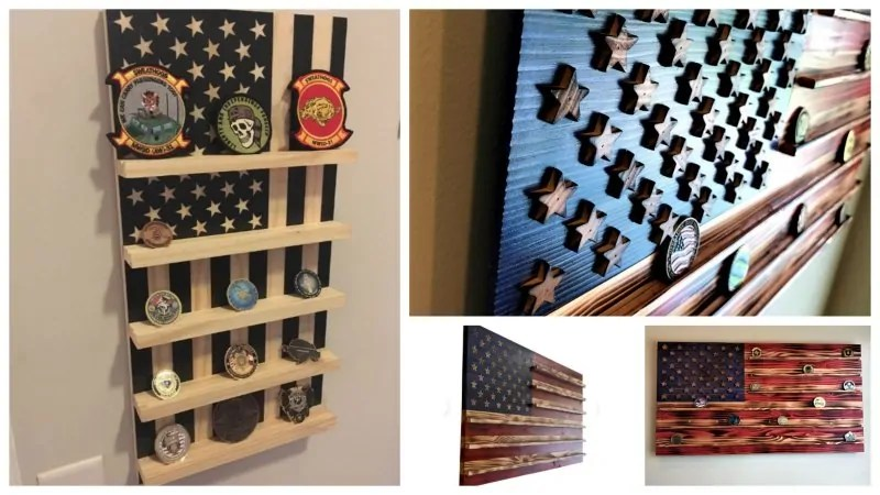 Collage of challenge coin racks made to display military challenge coins.