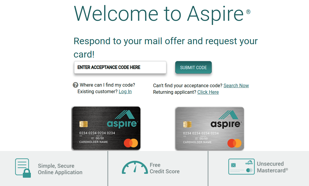 www.Aspirecreditcard.com Acceptance Code/Activate - Benefits Guide