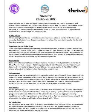 Newsletter 9th October 2020