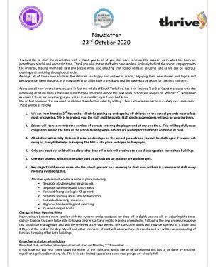 Newsletter 23 October 2020