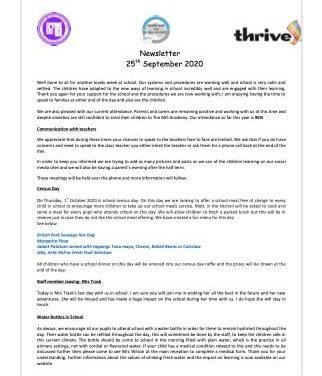 Newsletter 25th September 2020