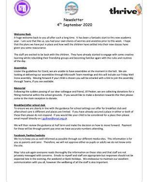 Newsletter 4th September 2020