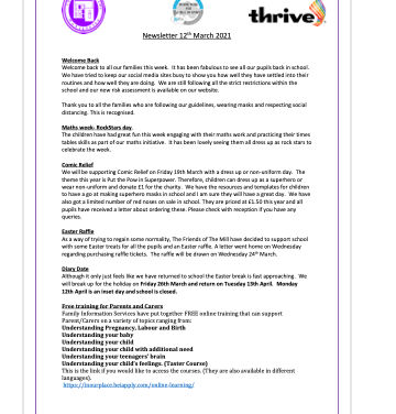 Newsletter 12th March 2021
