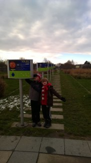 Solar system to marked out to scale in the park on the French side of the Rhine