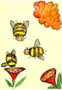 Three bees, two flowers and a UFO